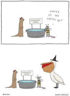 bobbing for apples ~ pelican takes all | Liz Climo comic via tumblr