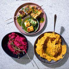Easy hummus – two ways | Woolworths TASTE Vegetarian Recipes, Healthy Recipes, Toasted Sesame Seeds, Basil Pesto, Yum Food, Halloumi, Beetroot, Mediterranean Recipes, Hummus