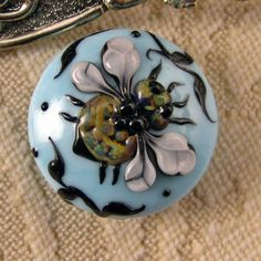 Lampwork Sky Blue Tapestry Bee Focal Bead by kerribeads on Etsy