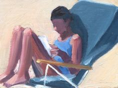 Painting of a woman reading on the beach by Stephen Winterton