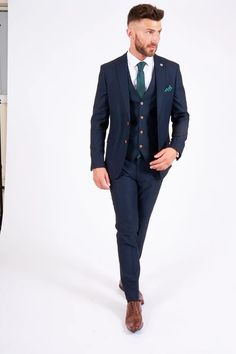 Click here to discover our collection of Men's 3 Piece Suits. Browse our vintage inspired designs in a variety of prints, colours & materials. Shop today! Black And Grey Suit, Classic Blue Suit, Classic Blues, Black Suits, Mens 3 Piece Suits, Three Piece Suit, Mens Suits, Double Breasted Waistcoat, Plain White Shirt