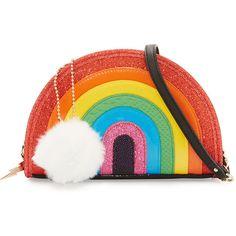 Betsey Johnson I Love Hue Rainbow Crossbody Bag (19.420 HUF) ❤ liked on Polyvore featuring bags, handbags, shoulder bags, multi, crossbody chain purse, chain purse, betsey johnson handbags, woven handbags and betsey johnson crossbody