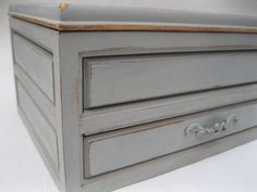 Gray Shabby Chic Jewelry Box with Red Velvet Lining & Drawer
