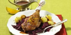 Roast Goose Leg With Red Cabbage And Potato Gnocchi