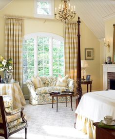 Lovely and soothing color palette in this beautifully designed traditional bedroom