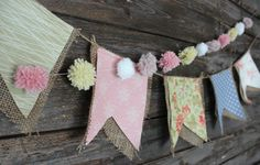 Pretty spring pastel fabric burlap banner and pom pom garland set, photo prop, cake smash prop, nursery bedroom decor by Sewology101 on Etsy