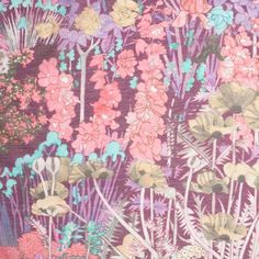 Liberty of London Anna's Garden Pink/Purple Silk-Cotton Voile Fabric by the Yard | Mood Fabrics