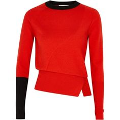Rejina Pyo Pippa red and black wool jumper (€435) ❤ liked on Polyvore featuring tops, sweaters, woolen jumper, jumpers sweaters, wool jumpers, wool sweaters and red and black tops
