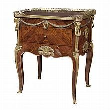 Louis XV Style Gilt-Metal Mounted Rosewood and Marquetry Table a Ecrire