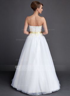 A-Line/Princess Sweetheart Floor-Length Taffeta Organza Wedding Dress With Sash Flower(s) (002015901)