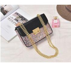 Metal Chain Women Messenger Shoulder Bag 2017 New European Bling Golden Pink PU Leather Small Square Flap Bag Lady Crossbody Bag