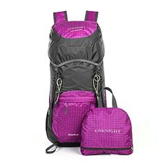 ENKNIGHT 40L Lightweight Water Resistant Travel Backpack foldable Hiking Daypack Purple ** For more information, visit image link.