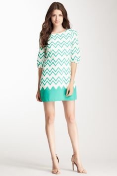 Scoop Neck 3/4 Sleeve Print Dress