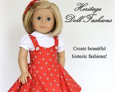 Pixie Faire Heritage Sock Hop 1950s Dress Doll Clothes Pattern for 18 inch American Girl Dolls - PDF