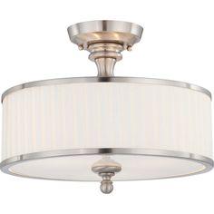 "Nuvo Lighting Candice Brushed Nickel Three Light Semi Flush Fixture W/Pleated White Shade  15""W x 7.5""H 3 - 60 watt Medium Base bulbs"