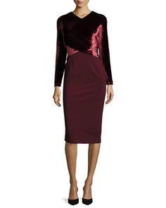 TCLY0 Lafayette 148 New York Long Sleeve Faux-Wrap Velvet Jersey Sheath Dress, Claret