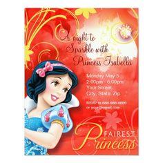 Disney Girl's Birthday Party Snow White Birthday Invitation