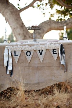 Burlap table cloth with love banner