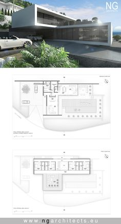 landscape architecture - modern house plan Villa Altea designed by NG architects www ngarchitects eu Contemporary House Plans, Modern House Plans, Dream House Exterior, Dream House Plans, Modern Architecture House, Architecture Plan, Luxury Modern House, Luxury Houses, Living Haus