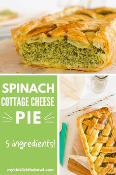 5 ingredient spinach pie recipe using puff pastry and cottage cheese. Healthy Family Dinners, Healthy Meals For Kids, Family Meals, Kids Meals, Main Meals, Healthy Food, Recipes Using Puff Pastry, Spinach Cake, Pie Recipes