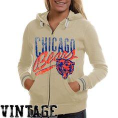Mitchell & Ness Chicago Bears Ladies Vintage Full Zip Hoodie Sweatshirt - Cream