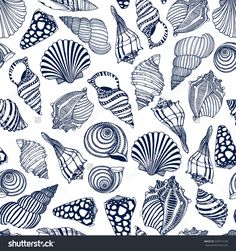 Fashion Illustration Patterns Vector seamless pattern with hand drawn seashells. Beautiful marine design elements, perfect for prints and patterns. Motif Design, Design Elements, Pattern Design, Shell Art, Fish Art, Beach Art, Doodle Art, Sea Shells, Print Patterns