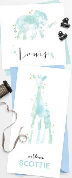 Lieve geboortekaartjes met watercolor, spetters, olifant en girafje. Prachtig met een mint envelop!
