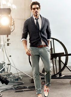 Gray Cardigan and Loafers