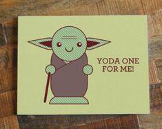 "Star Wars Pun Greeting Card ""Yoda One For Me"" - Nerd Love Card, Geek Cards, Chibi Cute Yoda,  Anniversary Card, Valentines Day Card"