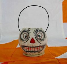 Bethany Lowe Halloween Tiny Skully Skeleton Bucket Jack O'lantern JOL New
