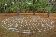 "designed and created by Tom Vetter during the 2012 TLS (""The Labyrinth Society"") gathering in Hudson, Wisconsin. 42 feet in diameter."