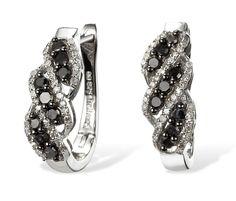 Black and White Diamond Hoop Earrings in Sterling Silver