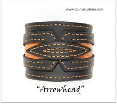 Do not miss this very special Arrowhead genuine leather bracelet. Made from 7-8 oz (approx. 3mm) black leather. This leather keeps a strong shape, but still soft enough and pleasant to wear.  Arrowhead is a handmade bracelet for anybody who likes stylish one-of-a-kind accessories. Features orange embossed leather inlays with a symmetrical design, matching stitching and central element, making the final accent.  Various leather inlays and stitching threads are available. Please send us a…