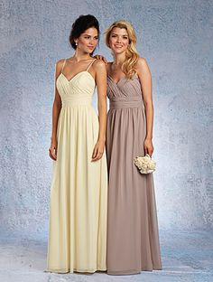 Today's Bride and Formal Wear- Alfred Angelo style 7323L.  Long chiffon bridesmaid dresses.