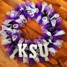 Kansas State Deco Mesh Wreath 20 inch K-State by ChelsShafDesign