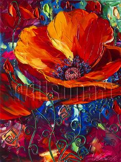 Modern Flower Canvas Oil Painting Red Poppy Poppies Textured