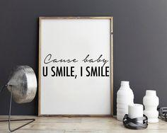 New to StyleScoutDesign on Etsy: Justin Bieber quote U smile I Smile song lyric art wall art print Purpose album dorm room decor dorm decor (5.44 USD)