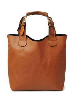 This handbag crafted in PU, featuring mini dots embellished to front, double pin buckle handle, top zip closure.$51