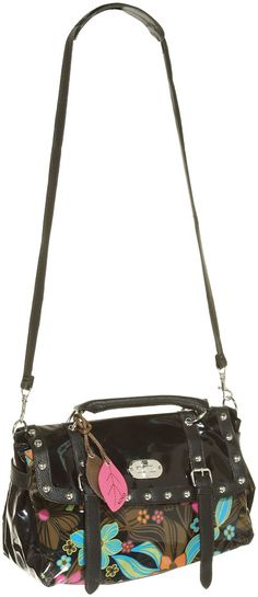 15DOLLARSTORE.COM - XOXO Studded Picnic Satchel W/ Tropical Patent Print (Black). Shut up and take my $15 (plus shipping).