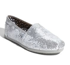 Silver TOMS Wedding Shoes... My favoritest shoes ever ! and i know that's not a word but tbh idc.