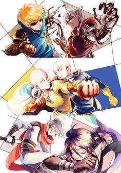 One Punch Man - Genos, Saitama and Sonic Saitama One Punch Man, One Punch Man Sonic, One Punch Man Funny, One Punch Man Manga, Anime One, Otaku Anime, Anime Naruto, Fanarts Anime, Anime Films