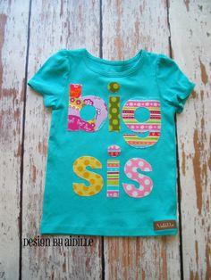 Size 18m Girls Big Sister Shirt Big Sis Tee Ready to Ship in Aqua Teal Blue