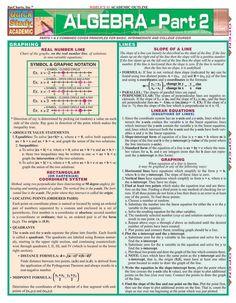 Algebra Fundamentals Quizzer Laminated Study Guide - BarCharts Publishing Inc makers of QuickStudy Maths Algebra, Calculus 2, Algebra Help, Algebra Equations, Math Help, Learn Math, Trigonometry, Homeschool Math, Homeschooling