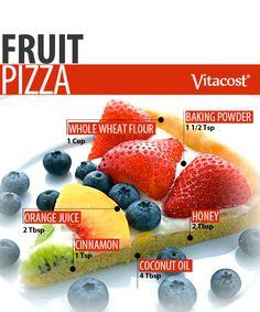 Fruit Pizza. Crust is honey, coconut oil, cinnamon, orange juice, whole wheat flour & baking powder