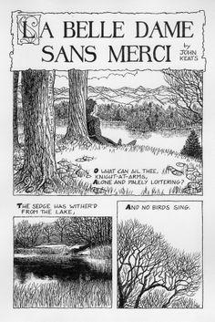 "Comic of ""La Belle Dame Sans Merci"" by John Keats #johnkeats Click to see the whole thing, it's beautiful"