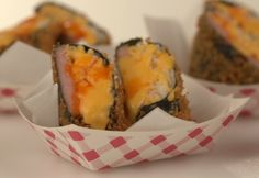 The hashtag used to stand for Man Candy Monday, but there's a new in town: Mac 'n' Cheese Musubi. We loaded this breaded musubi with macaroni and drizzled it with cheese. That's not just eye candy. That's mouth candy. Spam Recipes, Spam Musubi, Man Candy Monday, White Sauce, Cheese Sauce, Mac And Cheese, Sushi, Sandwiches, Ethnic Recipes