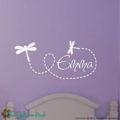 Dragonflies with Your Name Vinyl Wall Art Decals Stickers    Your order includes:  • 1 - Trailing Dragonflies with Your Name, measuring 31.554 wide