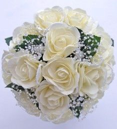 Brides Ivory Foam Rose Wedding Bouquet with Crystal Flowers