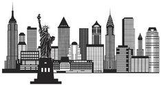 New York City Skyline Black and White Illustration by jpldesigns. New York City Skyline with Statue of Liberty Black and White Outline Illustration New York City Skyline, New York Cityscape, Nyc Skyline, Manhattan Skyline, Skyline Art, Skyline Image, New York Drawing, City Drawing, Outline Illustration