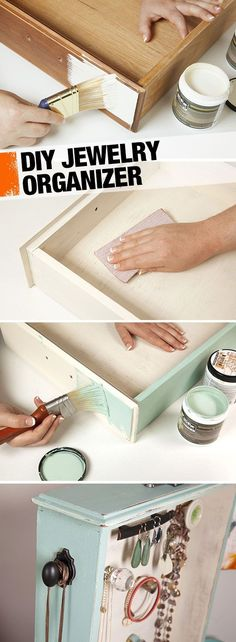 An old drawer becomes a vintage-look jewelry organizer in this easy DIY. It just takes some paint and a few extra knobs. Your jewelry will thank you. #jewelryorganizersdrawer